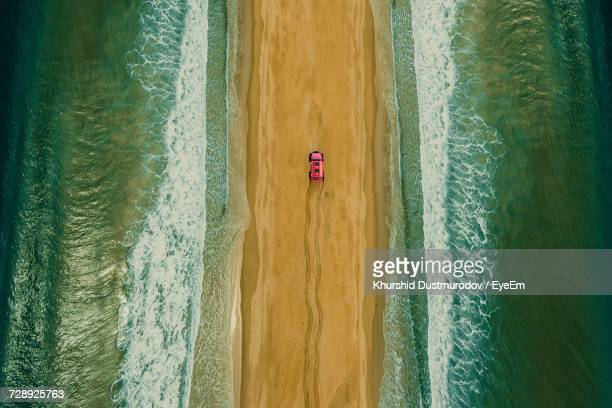 aerial view of a car in south africa - track imprint stock photos and pictures