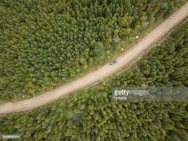 aerial view of a car on dirt road in forest - dirt track stock photos and pictures