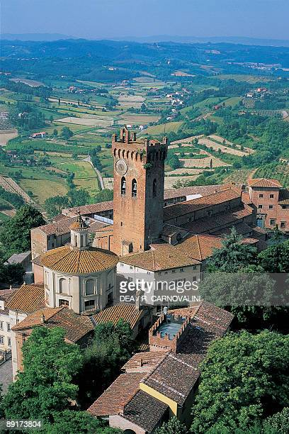 Aerial view of a cathedral with a tower, San Miniato, Tuscany, Italy