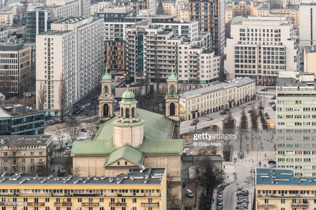 Aerial view of a church and apartment blocks in Warsaw in Poland : Stock Photo