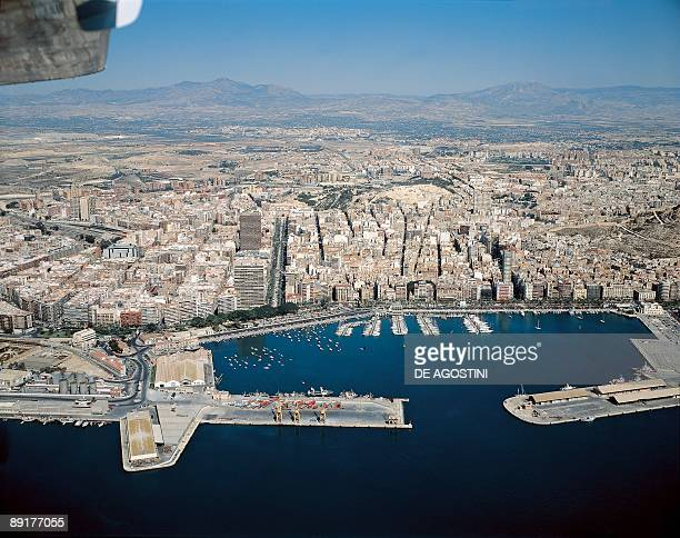 Aerial view of a city and a harbor Alicante Spain