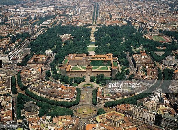 Aerial view of a city Castello Sforzesco Milan Lombardy Italy