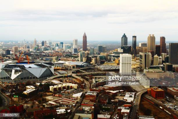 aerial view of a city - atlanta skyline stock pictures, royalty-free photos & images