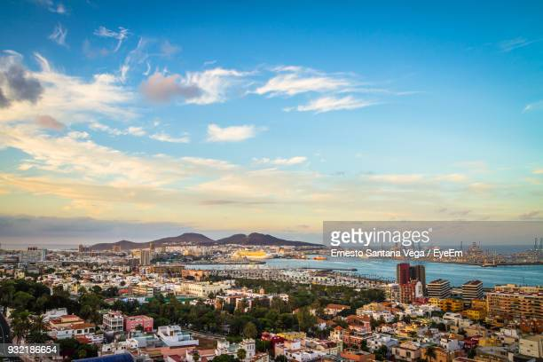 aerial view of a city - las palmas de gran canaria stock pictures, royalty-free photos & images