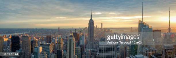 aerial view of a city - new york skyline stock photos and pictures