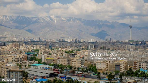 aerial view of a city - tehran stock pictures, royalty-free photos & images