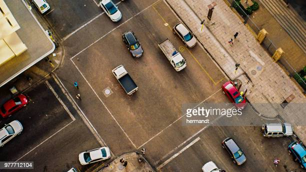 aerial view of a city street with cards and people, pretoria, gauteng, south africa - pretoria stock pictures, royalty-free photos & images