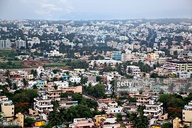 aerial view of a city, visakhapatnam, andhra pradesh, india - ヴィシャカパトナム ストックフォトと画像