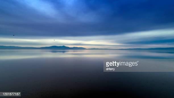 サルトン海の曇った夕日の空中写真 - 海洋性の鳥 ストックフォトと画像