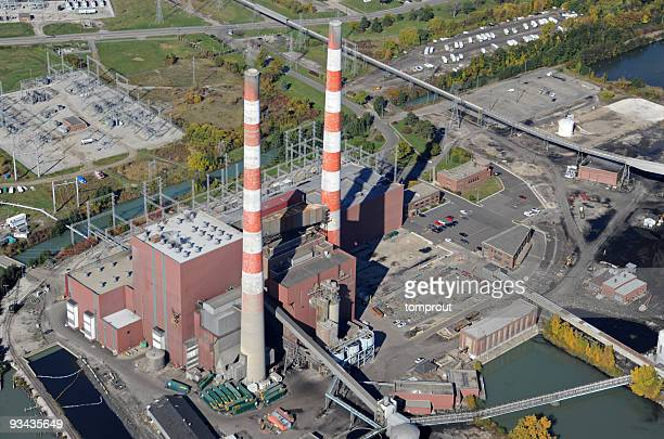 aerial view of a coal fired power station - coal fired power station stock photos and pictures