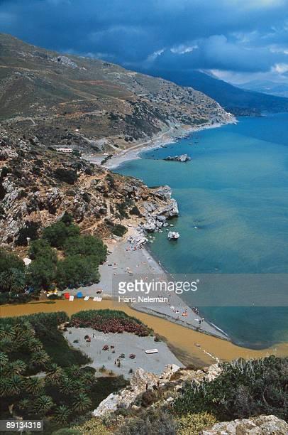 Aerial view of a coastline, Heraklion, Crete, Greece