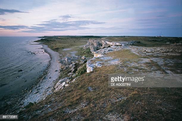 Aerial view of a coastline Hoburgen Gotland Sweden
