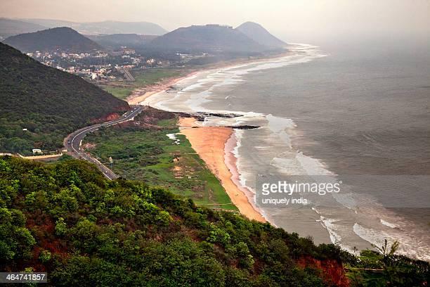 Aerial view of a coastline, Visakhapatnam, Andhra Pradesh, India