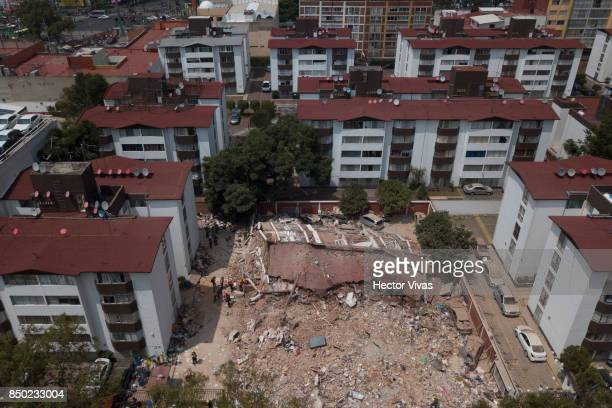 Aerial view of a collapsed buiding of Tlalpan a day after the magnitude 71 earthquake jolted central Mexico killing more than 200 hundred people...