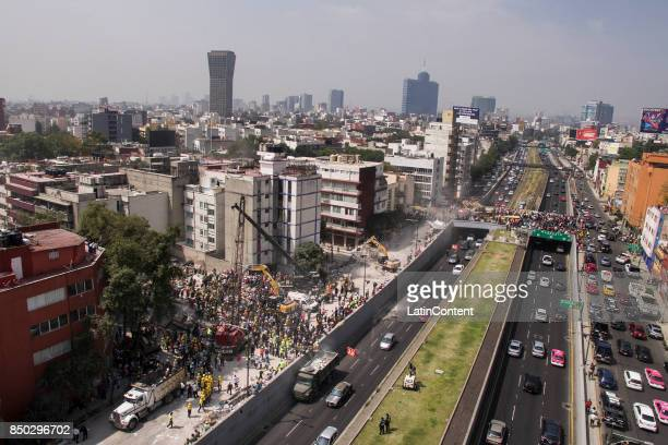 Aerial view of a collapsed building a day after the magnitude 71 earthquake jolted central Mexico killing more than 200 hundred people damaging...