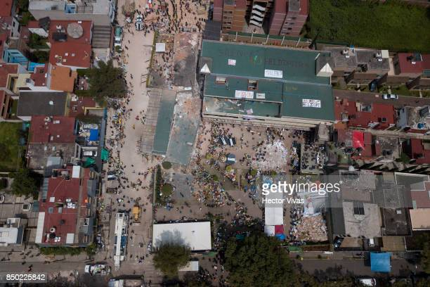 Aerial view of a collapsed school a day after the magnitude 71 earthquake jolted central Mexico killing more than 200 hundred people damaging...