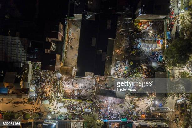 Aerial view of a collapsed school at Coapa neighborhood after the magnitude 71 earthquake jolted central Mexico damaging buildings knocking out power...