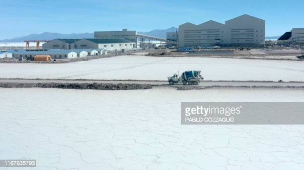 Aerial view of a concrete truck at the new stateowned lithium extraction complex in the southern zone of the Uyuni Salt Flat Bolivia on July 10 2019...