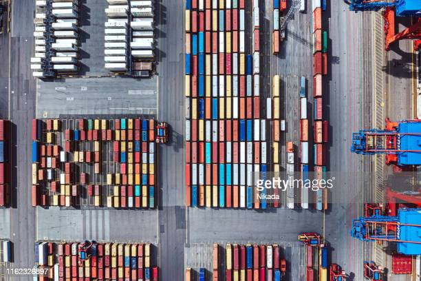 aerial view of a container harbour - harbour stock pictures, royalty-free photos & images