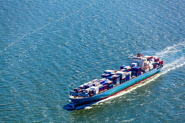 Aerial View Of A Container Ship Wall Art