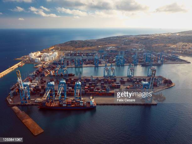 aerial view of a container terminal. cargo shipping drone view. - paysage marin photos et images de collection