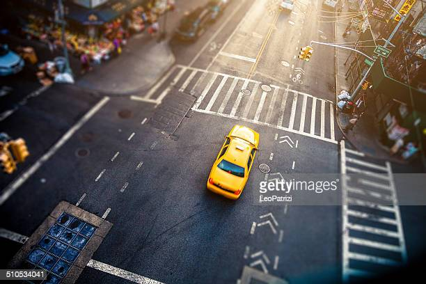 aerial view of a corner in chinatown, new york - yellow taxi stock pictures, royalty-free photos & images