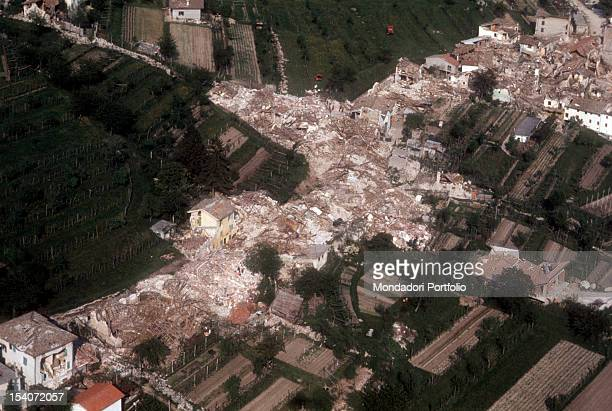 Aerial view of a country destroyed by the earthquake FriuliVenezia Giulia May 1976