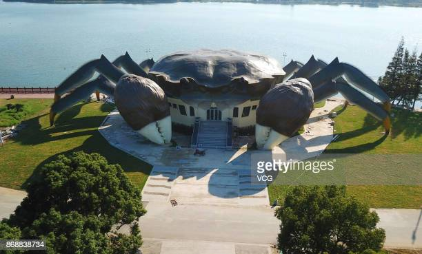 Aerial view of a crabshaped eco museum under construction on the shore of Yangcheng Lake on October 31 2017 in Suzhou Jiangsu Province of China The...