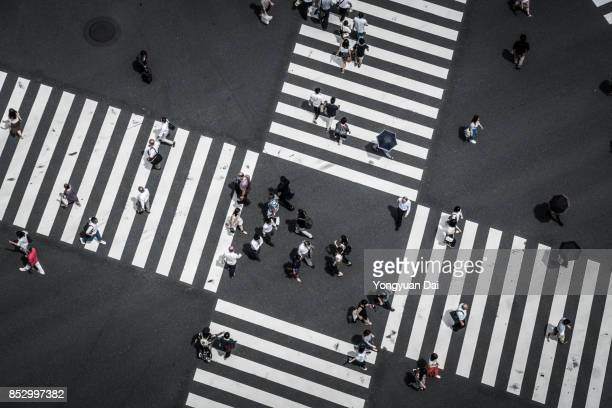aerial view of a crossing in ginza - crossroad stock pictures, royalty-free photos & images