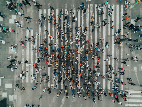 Aerial View of a Crossing in Mexico City 1032513938