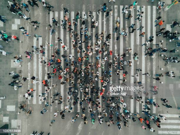 aerial view of a crossing in mexico city - large group of people stock pictures, royalty-free photos & images