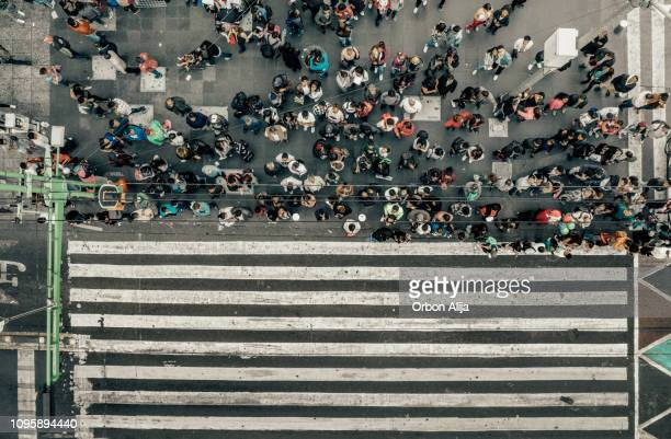 aerial view of a crossing in mexico city - mexico city stock pictures, royalty-free photos & images