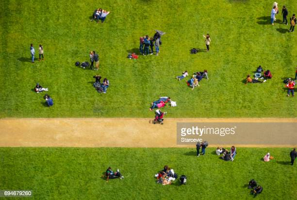 Aerial view of a crowd of people in park