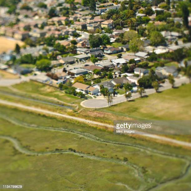 aerial view of a cul-de-sac - palo alto stock pictures, royalty-free photos & images