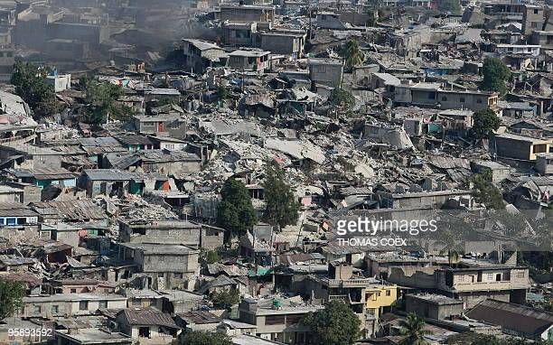 Aerial view of a damage on January 20 2010 in PortauPrince after the January 12 earthquake A strong earthquake measuring 61 on the moment magnitude...