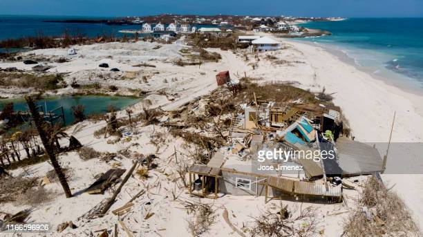 Aerial view of a damaged home at the Abaco Inn in Hurricane Dorian devastated Elbow Key Island on September 7, 2019 in Elbow Key Island, Bahamas. The...