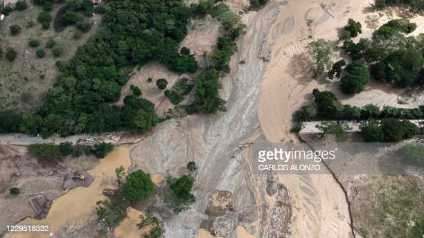 Aerial view of a damaged road following the passage of Hurricane Eta, now degraded to a tropical storm, in Gualan, Zacapa department, 154 km north...
