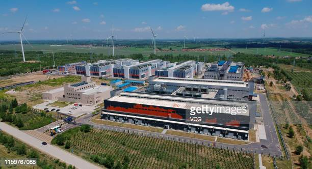 Aerial view of a data center of China's ecommerce giant Alibaba is seen on June 28 2019 in Zhangbei County Hebei Province of China Alibaba...