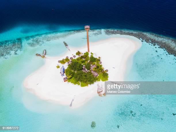 Aerial view of a desert island, Maldives