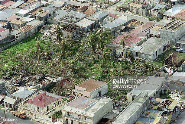 Aerial view of a devasted dwelling area on the Eastern coast of Guadeloupe taken 19 September 1989 after Hurricane Hugo swept across the Caribbean...