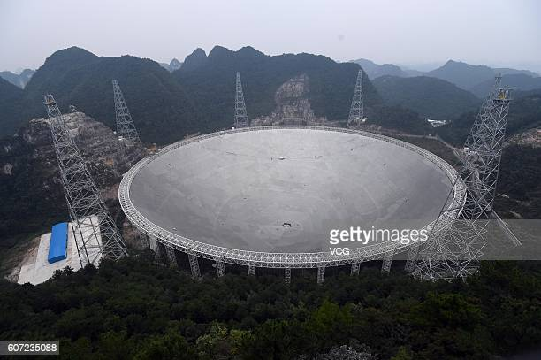 Aerial view of a dishlike radio telescope at Pingtang County on September 17 2016 in Qiannan Buyei and Miao Autonomous Prefecture Guizhou Province of...