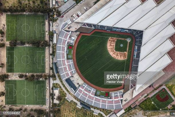 Aerial view of a empty soccer fields and the Alfredo Harp Helu baseball stadium at Magdalena Mixhuca sports facilty during lockdown to halt spread of...
