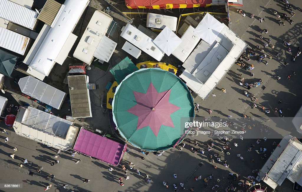 Aerial view of a fairground, Germany : Stock Photo