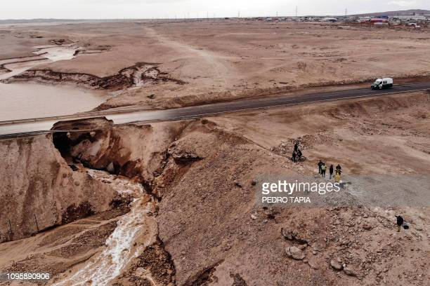 TOPSHOT Aerial View of a flooded area near a copper mine in Chuquicamata Chile on February 08 2019 Chilean state owned mining company Codelco...