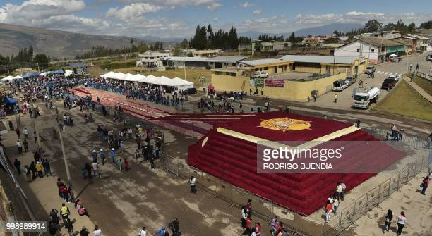 Aerial view of a floral pyramid where more than 500000 roses were set in order to run for a Guinness World Record in Tabacundo Ecuador on July 14 2018
