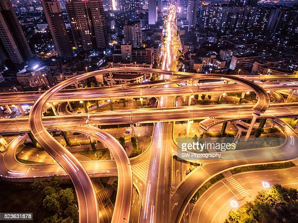 Aerial view of a flyover in Chengdu, China