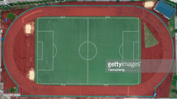 Aerial view of a football field from above.