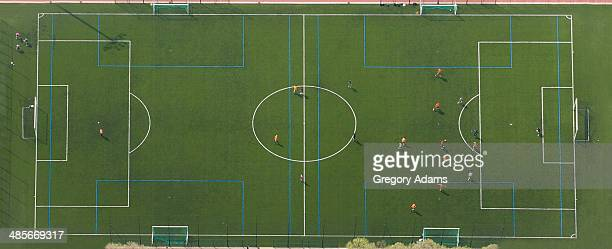 Aerial View of a Football Match