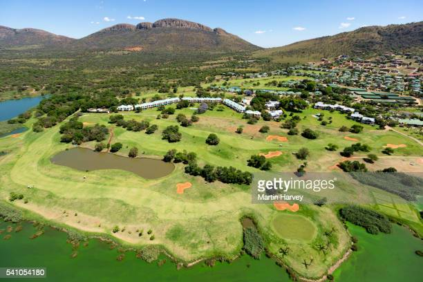 Aerial view of a Golf course at Hartebeesport dam, South Africa