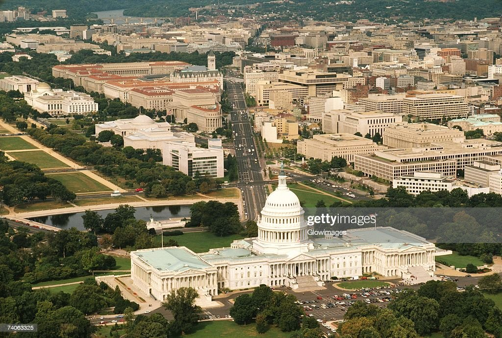 Aerial view of a government building, Capitol Building, Washington DC, USA : Stock Photo